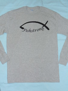 Grey Long Sleeved Fishstrong Logo T-Shirt