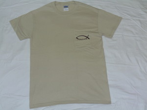 Tan Short Sleeved Men's Pocket Fishstrong Logo T-Shirt
