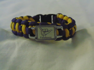 Purple/Gold Fishstrong Cord Bracelet