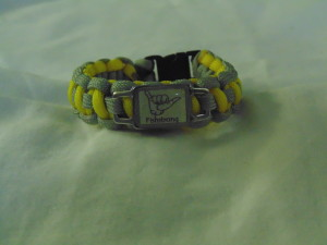 Grey/Yellow Fishstrong Cord Bracelet