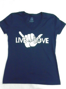 Navy Blue Short Sleeved Women's Cut Live, Love, Shaka T-Shirt